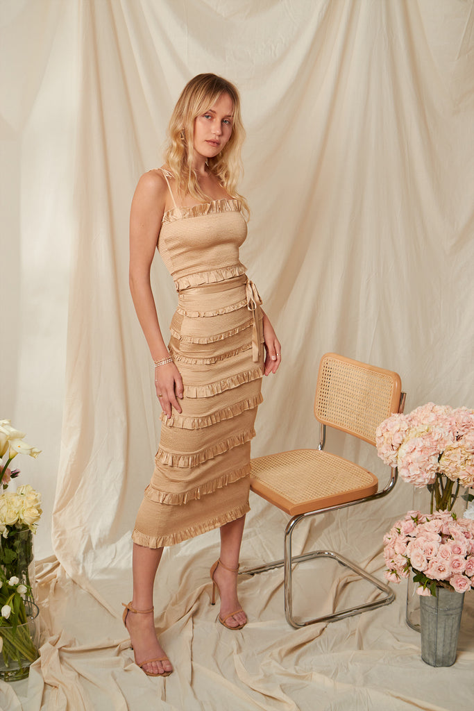 The Lily Dress in Warm Sand