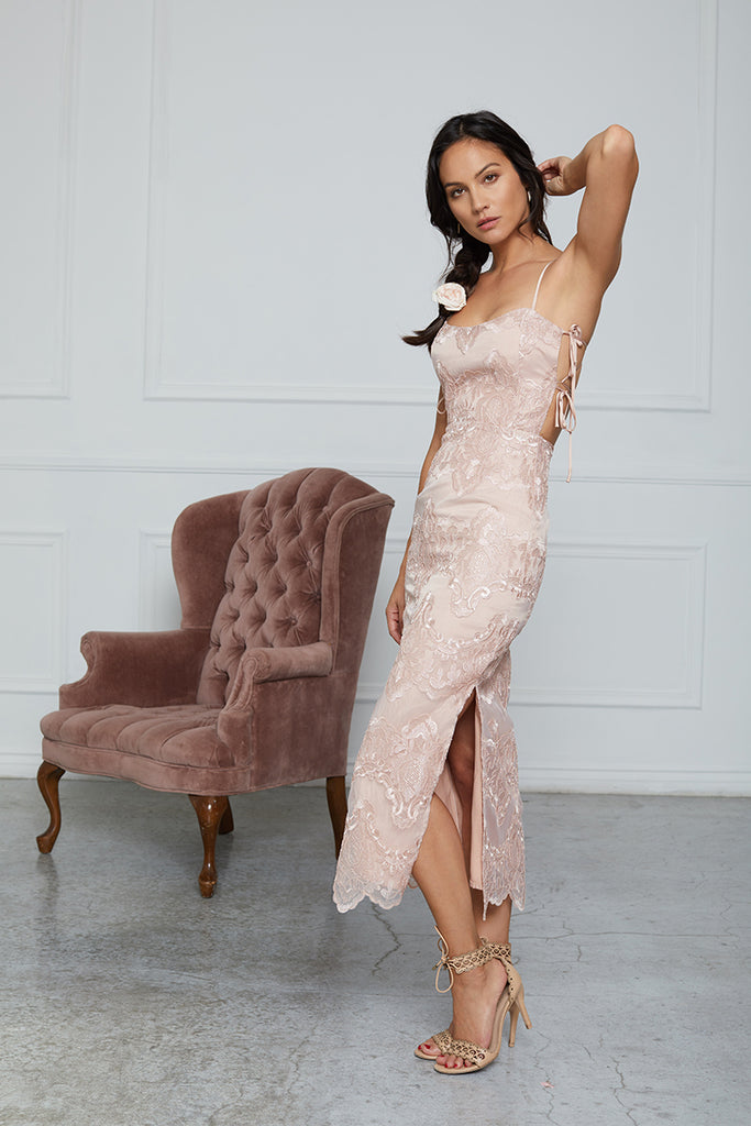 The Olivia Dress in Rose Dust Lace