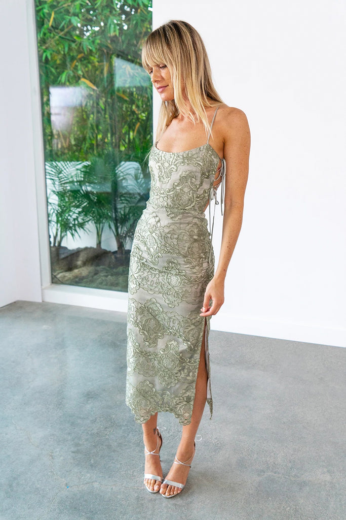 The Olivia Dress in Sage Lace