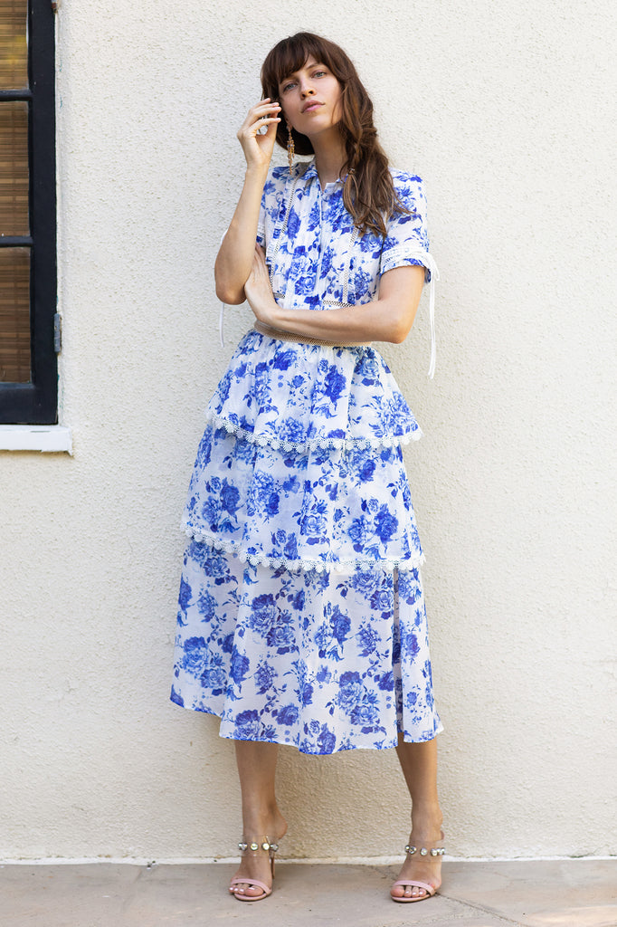 The Saint-Tropez Dress in French Blue Floral                                            * Pre-Order *