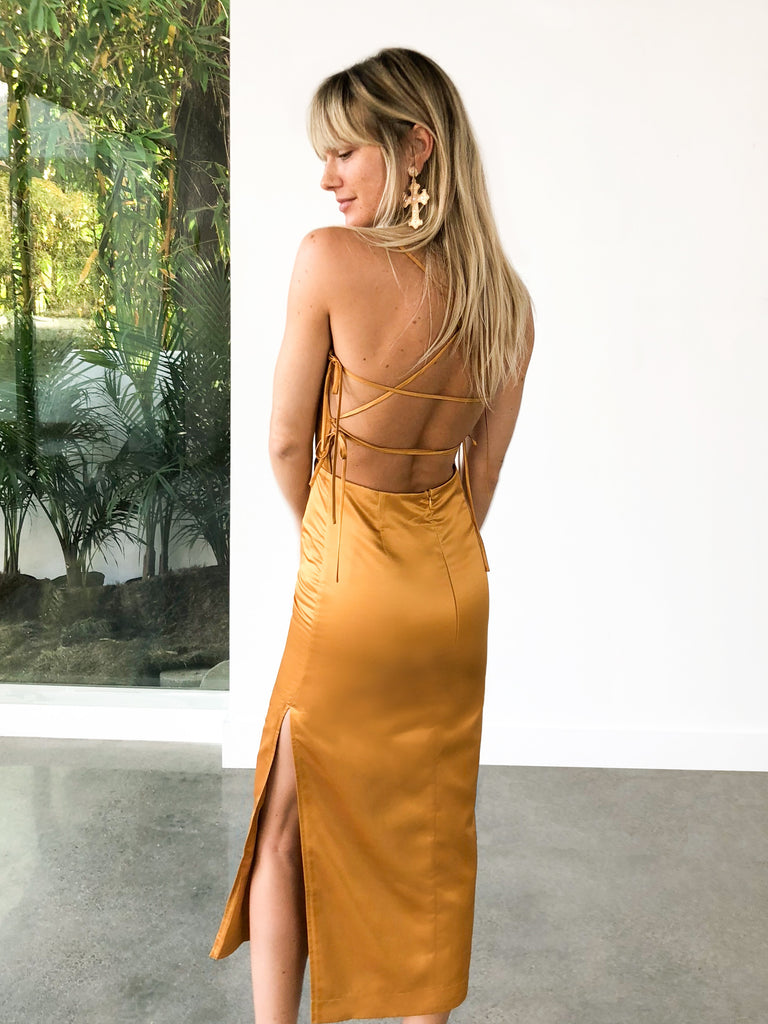 The Olivia Dress in Chai Tea Satin