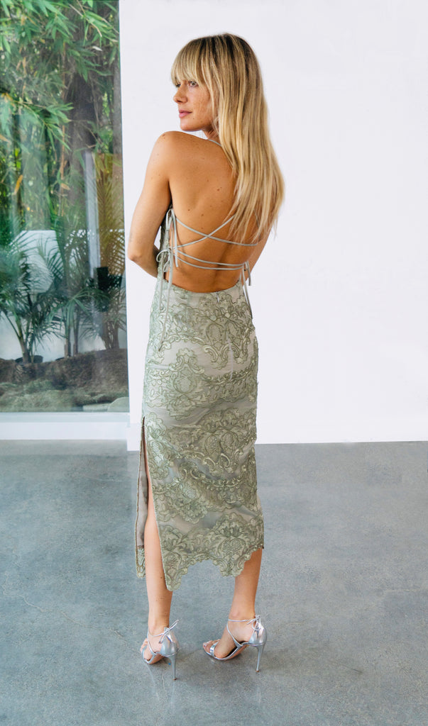 The Olivia Dress in Sage Lace - **Pre-Order for June**