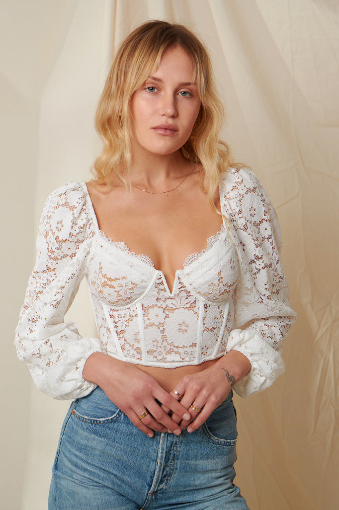 The Delphine Top in White Stretch Lace