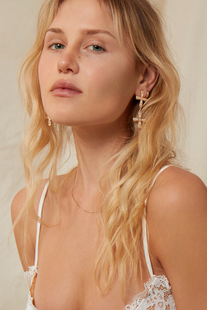 The Amalfi Double Cross Earring