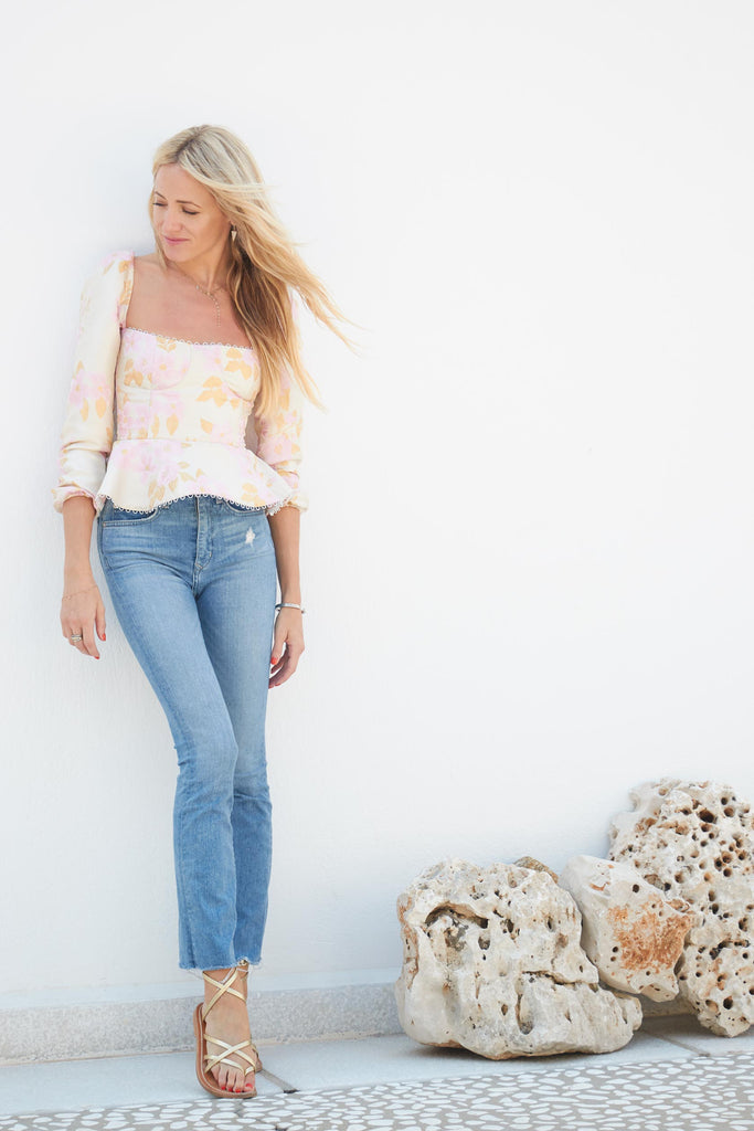 The Georgiana Top in Light Pink Baroque Floral