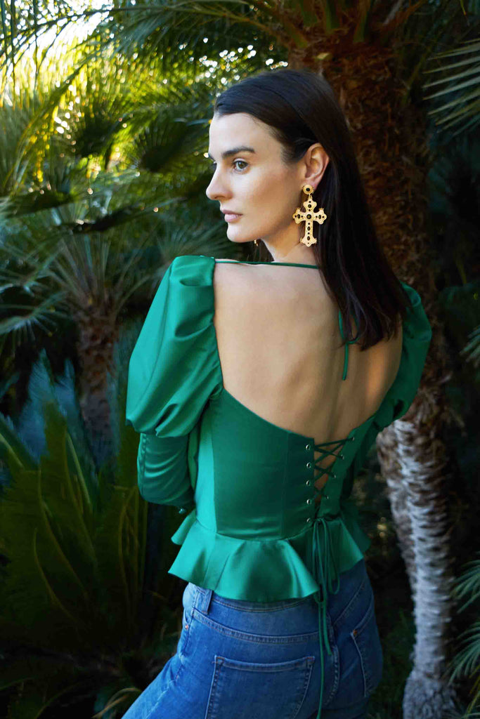 The Isabella Top in Kelly Green