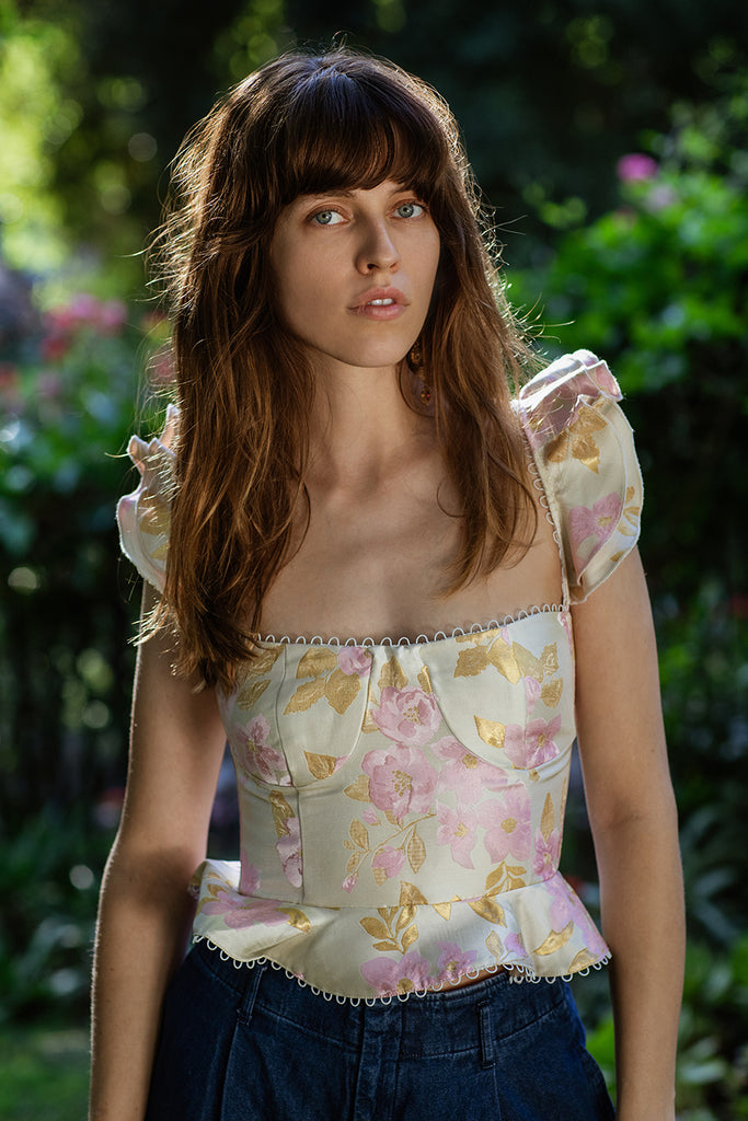 The Provence Top in Light Pink Baroque Floral