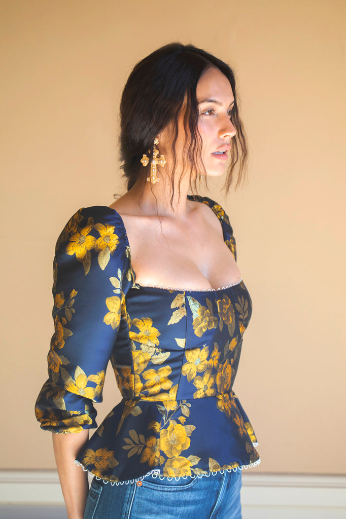 The Georgiana Top in Yellow Superbell