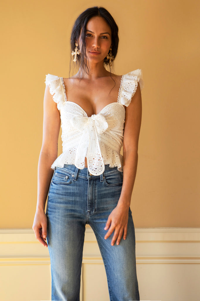 Petals Top in White Eyelet
