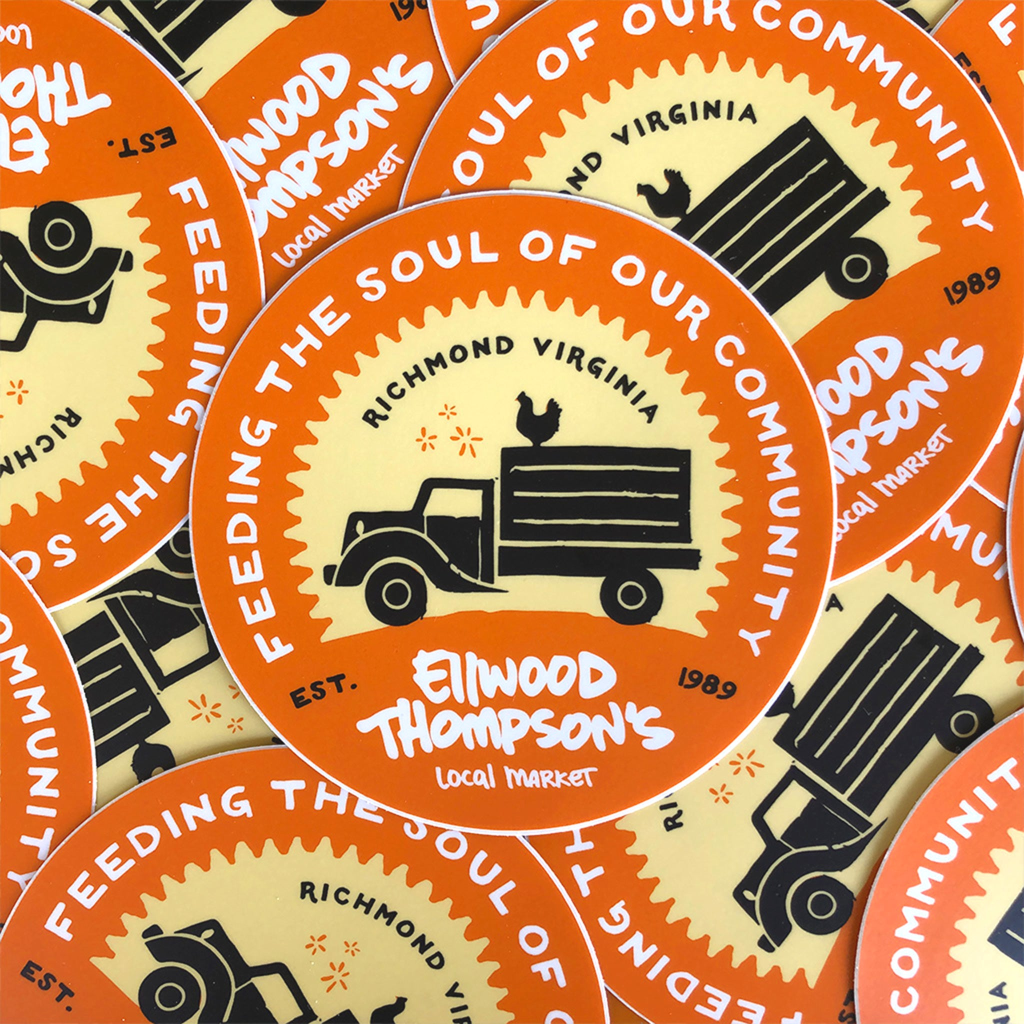 Sticker: Old-Timey Truck in Orange