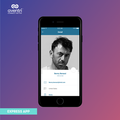 The Express App has visual profiles to show off each attendee's true personality.