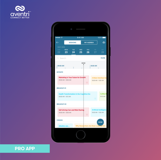 The Pro App makes it easy for attendee's to find the most relevant sessions.