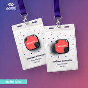 The Smart Tag can securely clip on to an attendee name badge with a retractable reel.