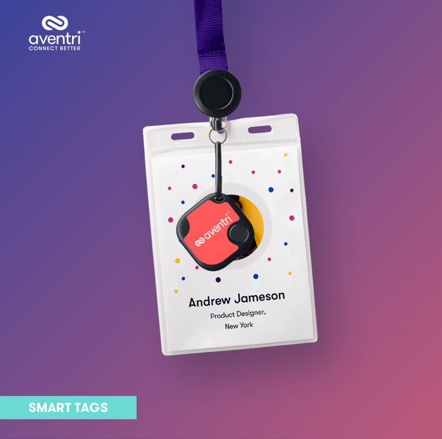 The Smart Tag can securely stick on to an attendee name badge.
