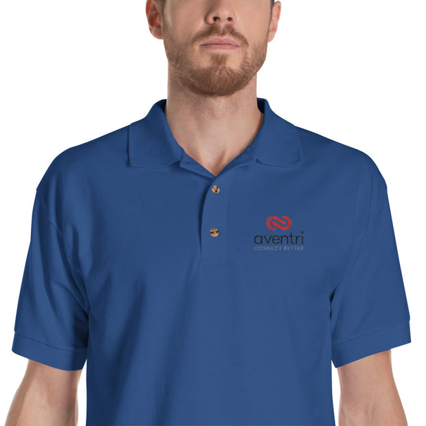 Aventri White and Blue Embroidered Polo Shirt