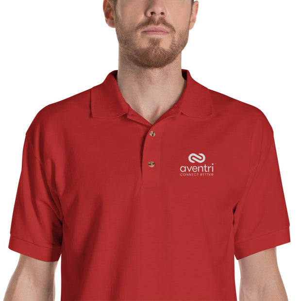 Aventri Embroidered Polo Shirt Black and Red