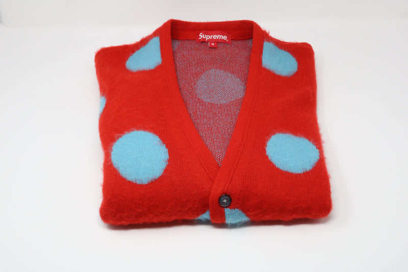 Supreme Brushed Polka Dot Cardigan Red