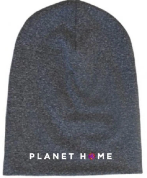 "Beanie - Gray ""PLANET HOME"" design"