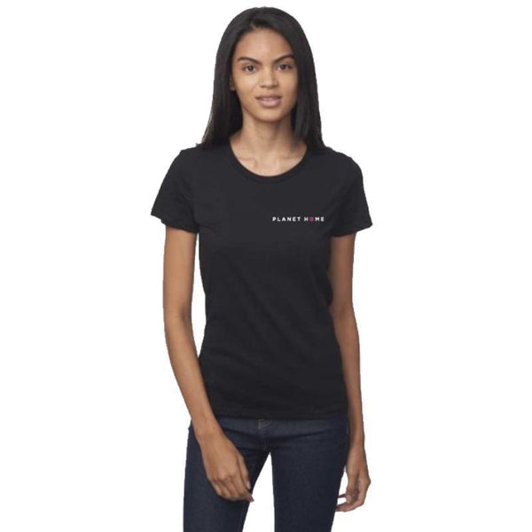 Women's SS Tee - Shadow Black - 'Planet Home Design'