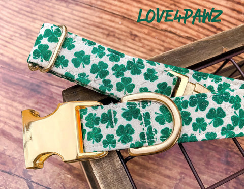 St Patricks Dog Collar - Shamrock Collar - Breakaway Cat Collar - Clover Dog Collar - Holiday Pet Collar - Engraved Pet Buckle