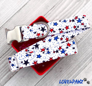 Patriotic Dog Collar - Cat Safety Collar - 4th of July Collar - Fabric Dog Collar - Independence Day - Cat Accessories - Pet ID Tag