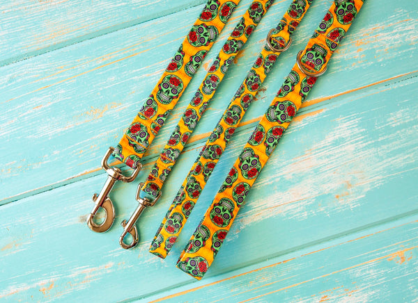 Sugar Skull Dog Leash - Strong Dog Leash - Nylon Dog Leash - Training Leash - Halloween Dog Leash - Durable Dog Leash - Webbing Leash