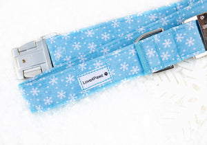 Snowflake Dog Collar - Winter Dog Collar - Adjustable Dog Collar - Cat Breakaway Collar - Holiday Dog Collar - Xmas Dog Collar - Dog ID Tag