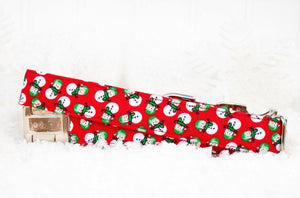Snowman Dog Collar - Winter Dog Collar - Christmas Collar - Cat Breakaway Collar - Engraved Pet ID - Holiday Dog Collar - Cat Accessories