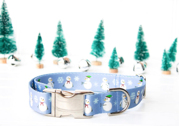 Snowman Dog Collar - Winter Dog Collar - Nylon Dog Collar - Durable Collar - Christmas Dog Collar - Webbing Collar - Holiday Dog Collar