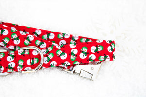 Snowman Dog Collar - Winter Dog Collar - Pet Stocking Stuffer - Holiday Dog Collar - Cute Dog Collar - Engraved Buckle - Christmas Collar