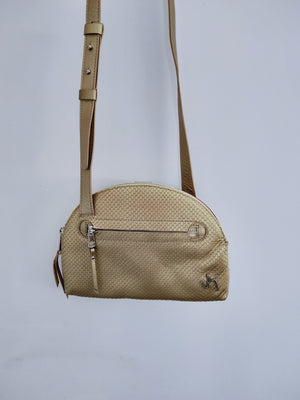 Double Sided Cross Body handbag in gold and terracotta