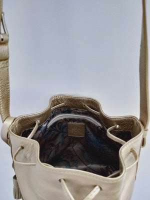 Cross Body Bucket Handbag with a texture edge in gold