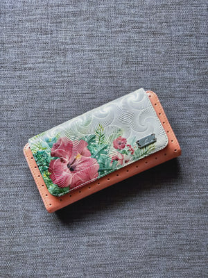 Texture leather wallet with a floral print