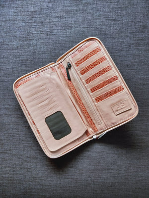 Texture coral leather wallet