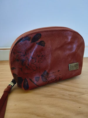 Leather makeup bag with a rose print