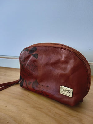 Cosmetic Leather Bag ( Rose )-TOILETRY BAG-Colombian Label Co.
