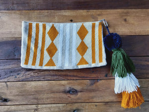 Small rectangular clutch bag , handmade with earthy tones cotton (mustard , white , sand)