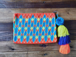 Handmade Clutch Bag , crochet with bright cotton colours (Orange , teal , yellow)
