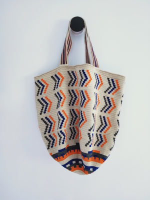 Beach Bag , handmade in cotton with orange , black and sand patterns