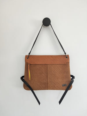 Suede and leather shoulder handbag ( Alanis )-LEATHER SHOULDER BAG-Colombian Label Co.