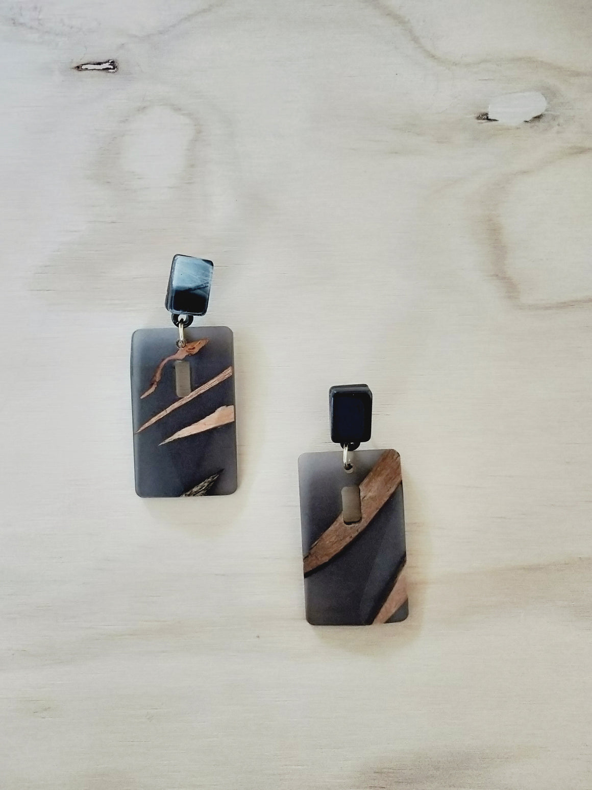 Wood and resin rectangular earrings-Earrings-Colombian Label Co.