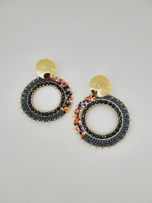 Earrings ( Half Rainbow Mandala )-Earrings-Colombian Label Co.