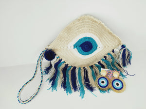 Evil Eye clutch and earring-under $100-Colombian Label Co.