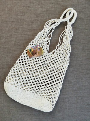 Crochet style bag and wooden earrings-under $50-Colombian Label Co.
