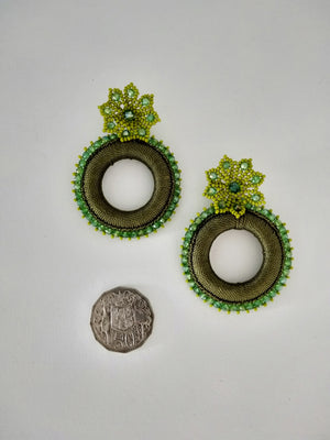 Tejido flor earrings-Earrings-Colombian Label Co.
