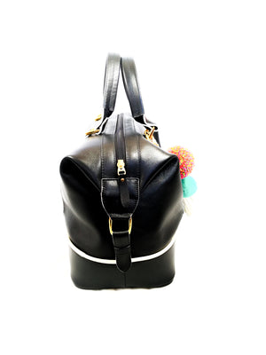 BLACK LEATHER HANDBAG ( BOWLING POMPOM TROPICAL )