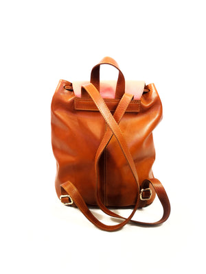BROWN AND CORAL LEATHER BACKPACK ( TULA FEM BILBAO )