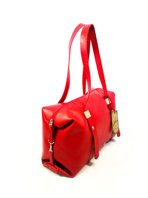 RED LEATHER HANDBAG ( BOWLING FEM COCODRIL )