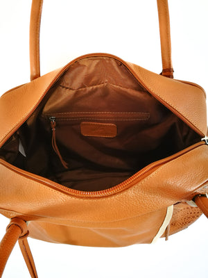 BROWN LEATHER HANDBAG ( BOWLING FEM GRENOBLE )