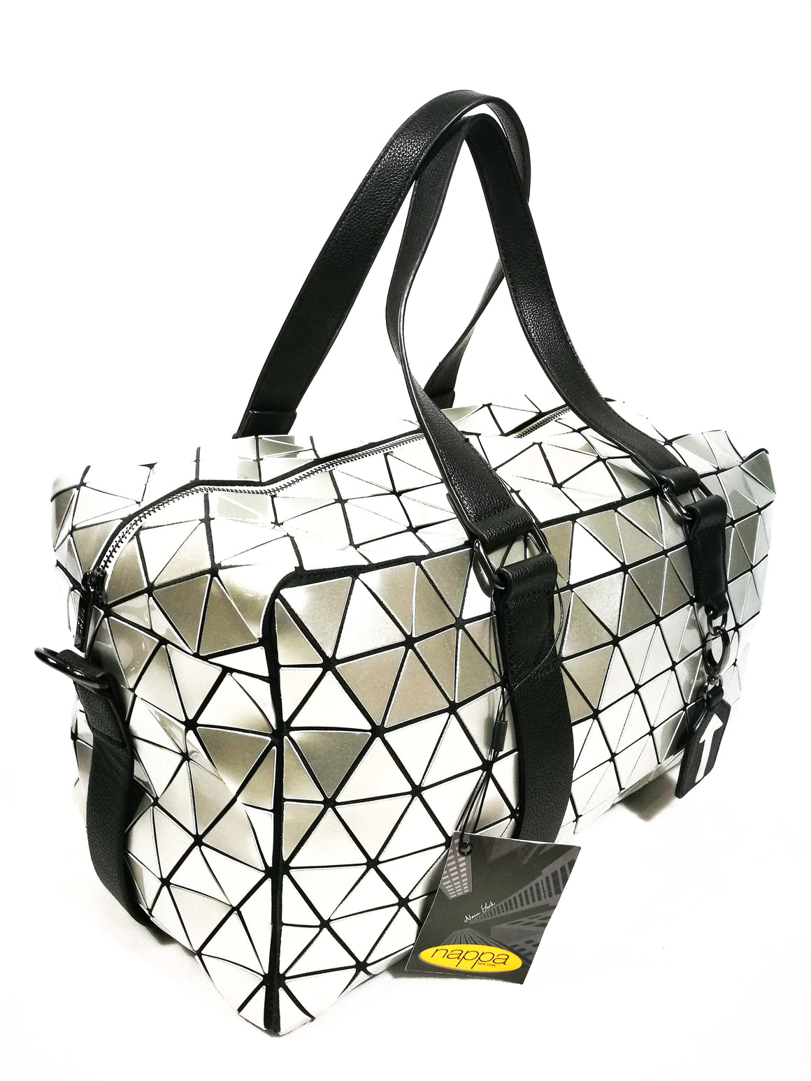 Silver PU Geometric Travel Bag-Handbags-Colombian Label Co.